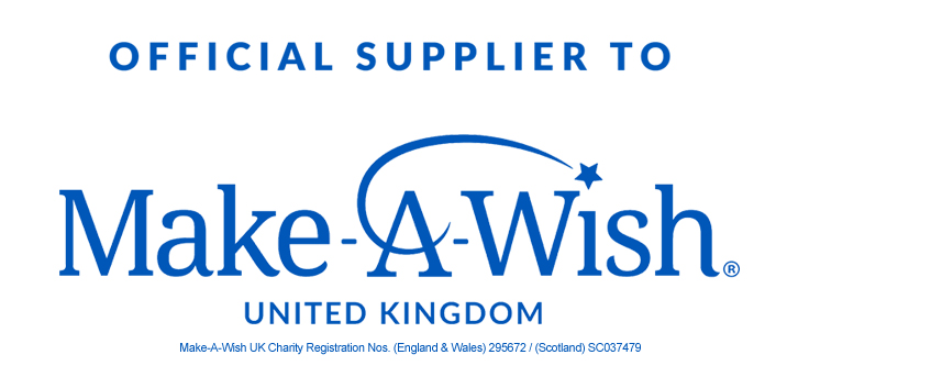 Official supplier to Make A Wish Uk - United Kingdom - Charity Registration Nos. (England & Wales) 295672 / (Scotland) SC037479