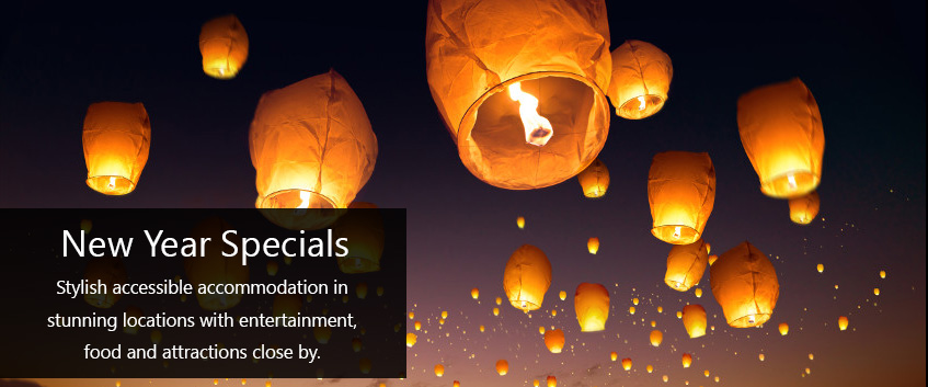 New Year specials, welcome the New Yea in with style. Stylish accessible accommodation in stunning locations with entertainment, food and attractions close by.