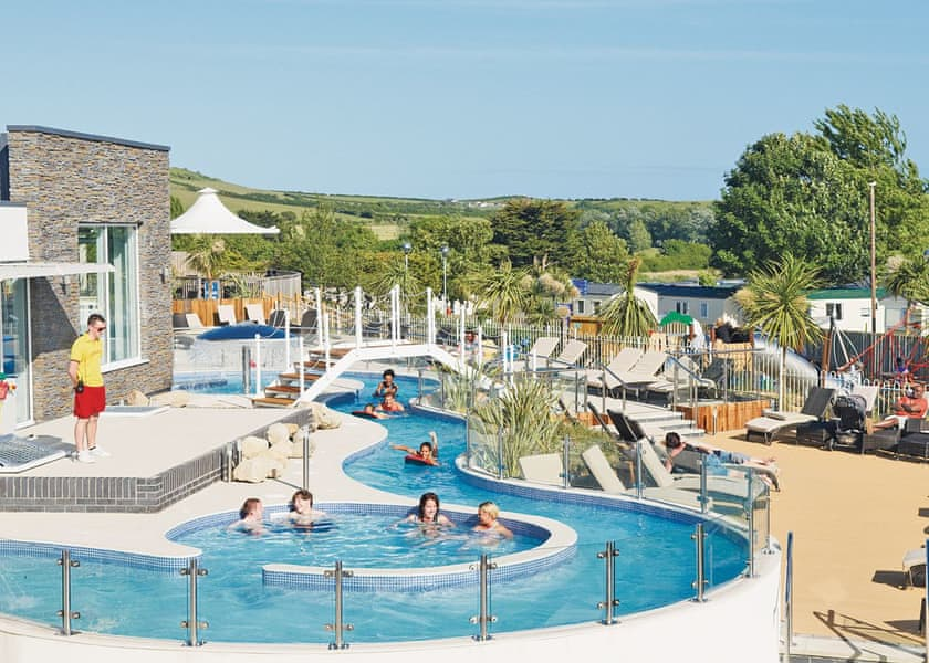 People enjoying the lazy river at south coast Dorset holiday park