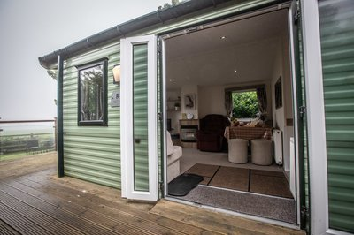 Accessible mobile holiday home with electric profiling bed, in Whitby, Yorkshire