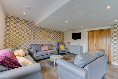 Living room in disabled-friendly lakeside lodge in Lancashire