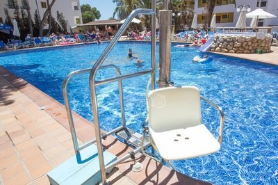 Pool hoist at accessible hotel in Ibiza