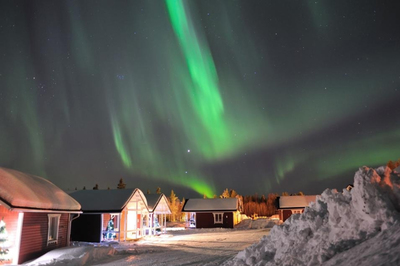 Northern Lights above Santa Claus's Village, Rovaniemi, Finland
