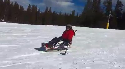 Disabled skier on holiday
