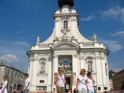 White basilica in Wadowice, Poland