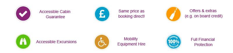 cabines accessibles, même prix que direct, offres & extras, excursions accessibles, location de matériel de mobilité, protection financière