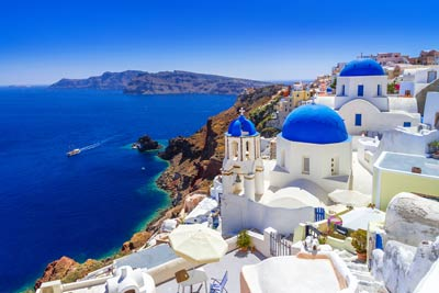 Blue-roofed houses in the Cyclades, Greece