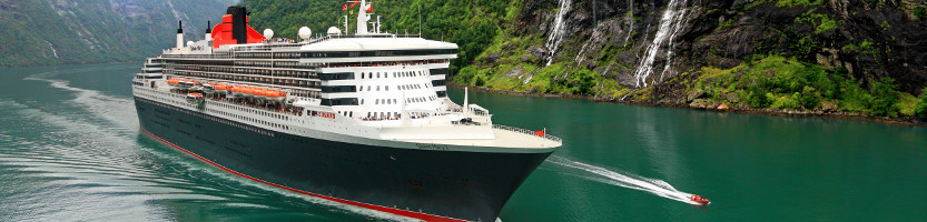 Cunard cruise ship sailing in the Norwegian Fjords