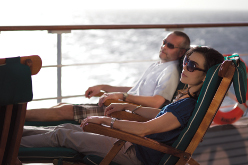 Cunard passengers relaxing on deck