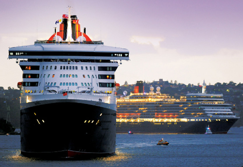Cunard cruise ship at port
