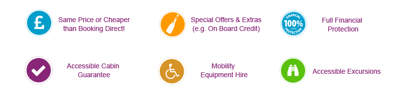 accessible cabins, same price as direct, offers & extras, accessible excursions, mobility equipment hire, financial protection