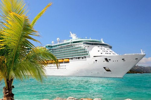 Cruise ship in exotic location