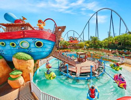 Water park ride at PortAventura World, Catalonia, Spain