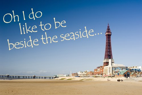 Blackpool Tower and beach postcard