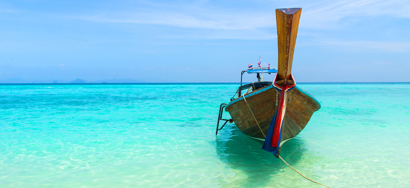 Boat on sea in Krabi province, Thailand