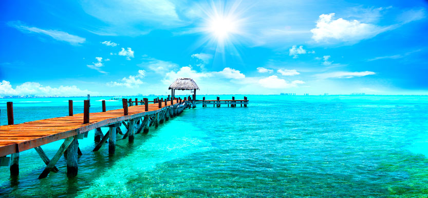 Sunny pier and sea in Cancun, Mexico
