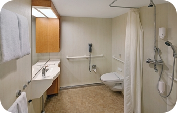 Royal Caribbean accessible cruise ship adapted wet room for disabled guests
