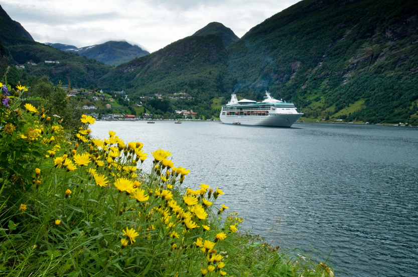 Royal Caribbean cruise ship in the Norwegian fjords