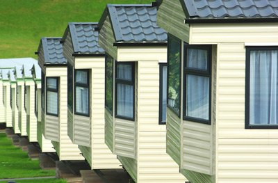 Caravans in a holiday park