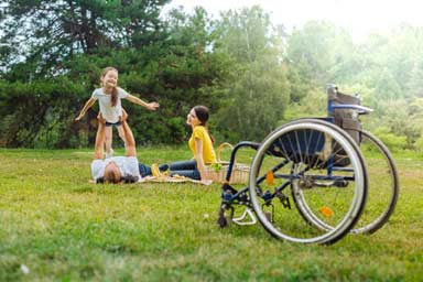 Disabled family on holiday