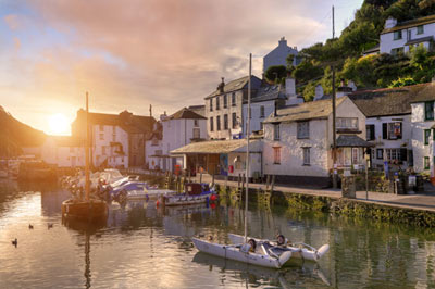 Harbour in Cornwall at sunset
