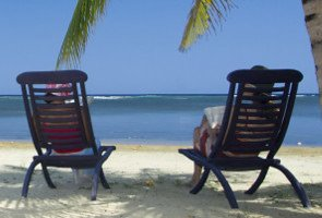 Honeymoon chairs on beach