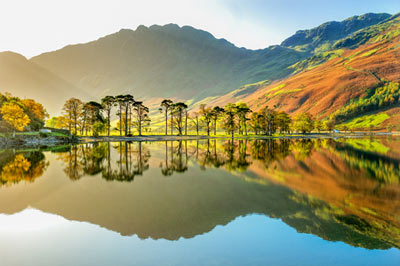 Peaceful lake and mountains in the Lake District