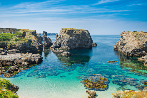 Beach and blue sea in Brittany, France