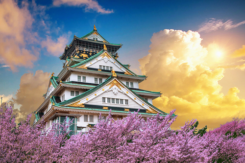 Osaka Castle among cherry blossoms in Osaka, Japan