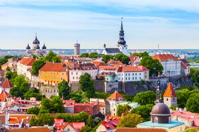 Skyline of the old town in Tallinn, Estonia