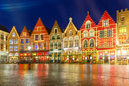 Colourful houses at Bruges Christmas market, Belgium