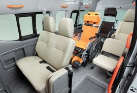 Interior of adapted taxi for accessible travel for the disabled in Barbados
