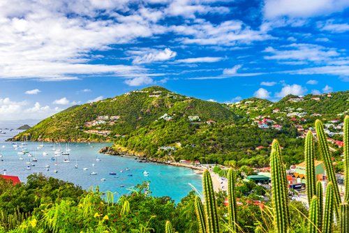 Blue sky and sea at Saint Barthelemy, Caribbean
