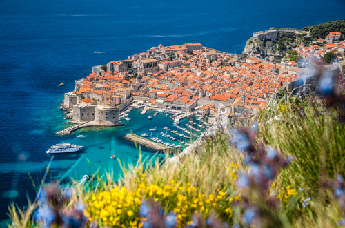 View of Dubrovnik and cruise ship in the harbour