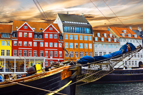 Colourful houses in Copenhagen harbour, Denmark
