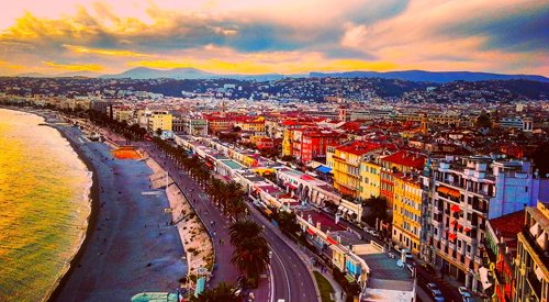 Beach and city of Nice, France