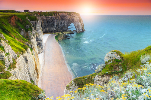 Beach and cliffs in Normandy, France