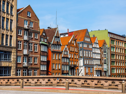 Colourful buildings in Hafencity, Hamburg, Germany