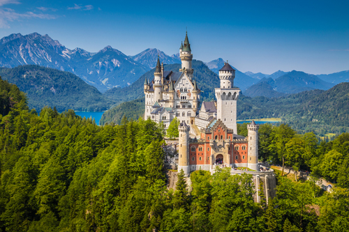 Neuschwanstein Castle in the mountains of Bavaria, Germany