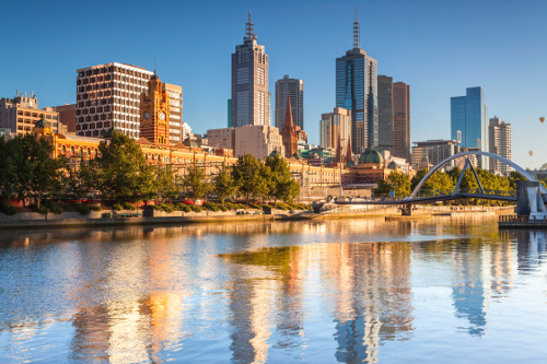 Melbourne river and skyline, Victoria