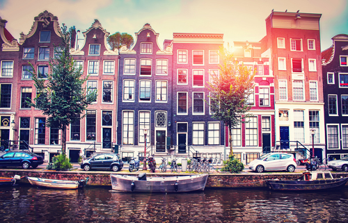 Street and canal in Amsterdam, Netherlands