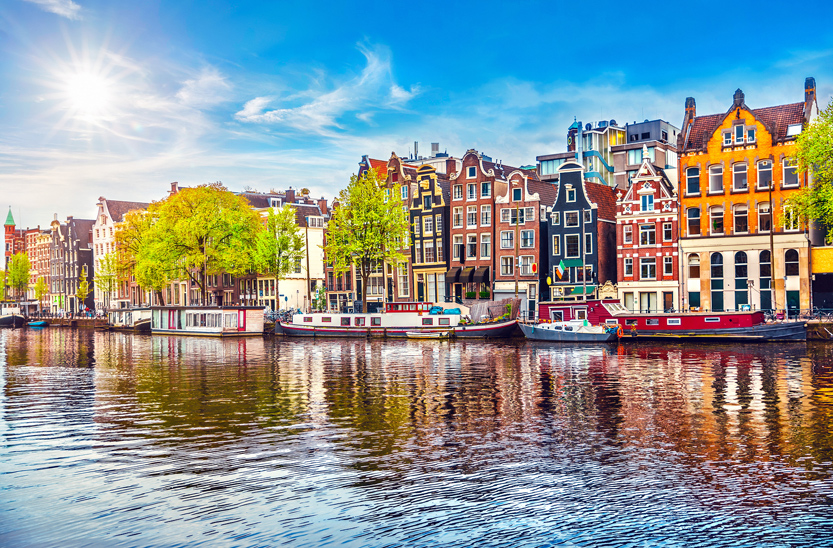 Colourful buildings on Amsterdam canal