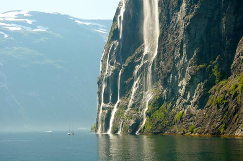 Waterfall in the Norwegian fjords