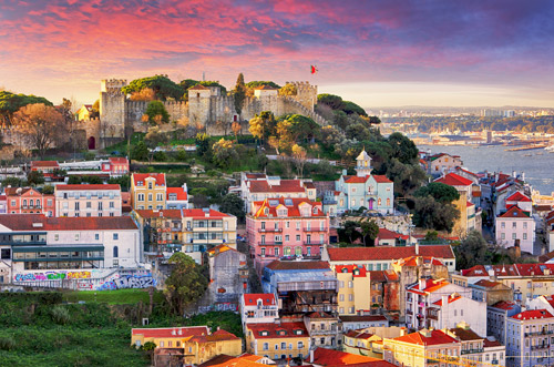 Lisbon skyline and Sao Jorge Castle, Portugal