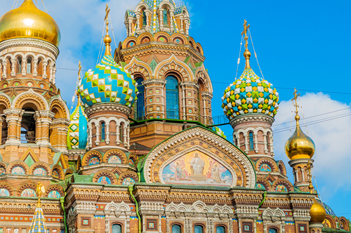 The colourful facade of the Church of the Saviour, St Petersburg, Russia