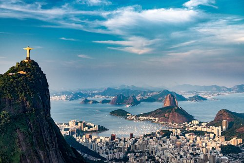 Christ the Redeemer statue overlooking Rio de Janeiro and Sugarloaf Mountain, Brazil