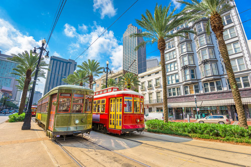 Colourful trams in New Orleans, Louisiana, USA