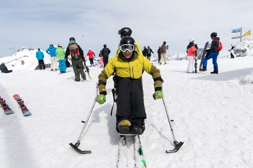 Disabled skiing at Val Thorens ski resort, Three Valleys, France