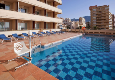 Accessible hotel swimming pool with pool hoist in Fuengirola, Costa del Sol, Spain