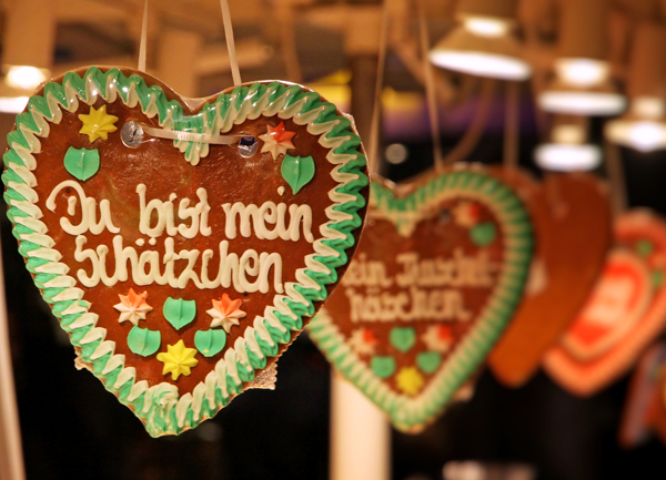 Gingerbread hearts on sale at a disabled-friendly Christmas market in Germany